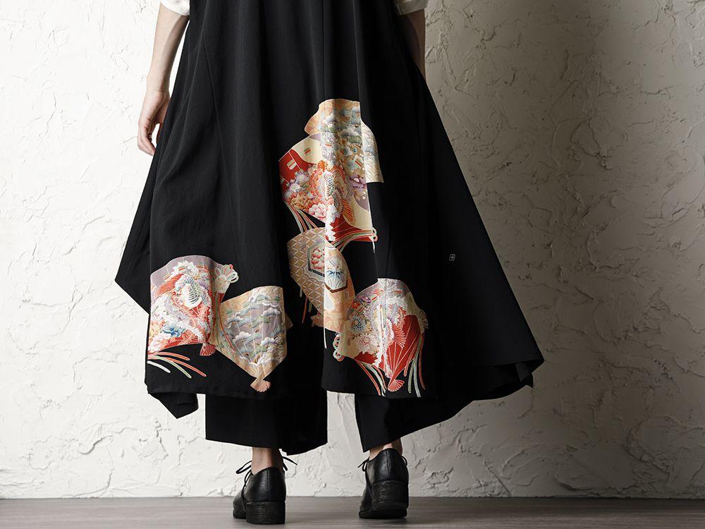 Rondo.ym 20SS Silk Georgette Phoenix and Fan Embroidery Kimono Sleeve Coat Style - 2-003