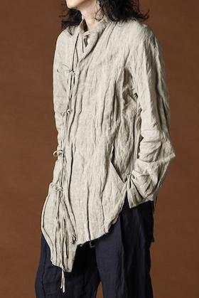 ZIGGY CHEN Cotton Metal Asymmetry China Shirt