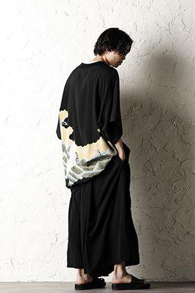 Rondo.ym Yohji Yamamoto Mix Silk Georgette Over Sized T-Shirts Style