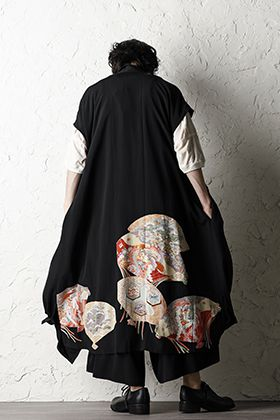 Rondo.ym 20SS Silk Georgette Phoenix and Fan Embroidery Kimono Sleeve Coat Style