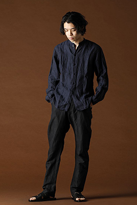 ANNASTESIA - Bergfabel 2020SS Styling / Linen Mao Collar Shirt + Glen Check Trousers