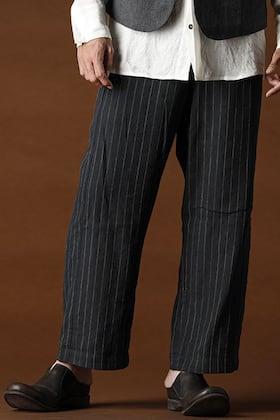 ANNASTESIA / DEVOA Baggy Cropped pants Linen viscose stripe
