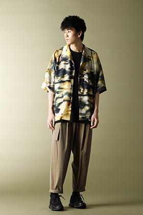 KAZUYUKI KUMAGAI【Silky inkjet Pt drop shoulder Open collar shirt S/S】styling!!