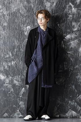 Yohji Yamamoto 20-21AW Cupro Salt shrink Stand Collar Blouse Style