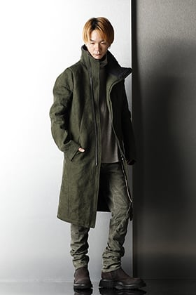D.hygen Military High Neck Coat Styling