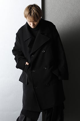 Ground Y - グランドワイ 2020-21AW Big pea coat Black Styling