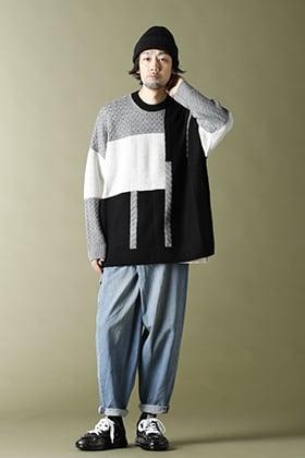 20-21AW KAZUYUKI KUMAGAI【Patchwork knit crewneck pullover】Casual Cordinate!!