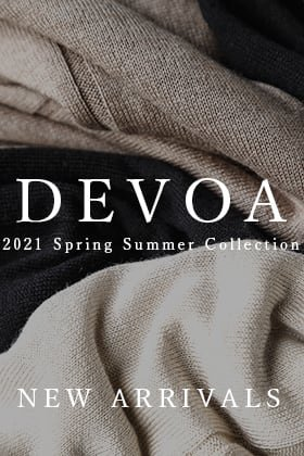 New arriving from DEVOA 21SS is a silk-cashmere knit.