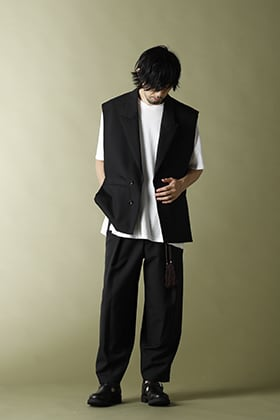 KAZUYUKI KUMAGAI【Wo/Mo Tropical Layered Vest & Back pleats Trousers】Set-up Style