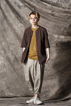 DEVOA(デヴォア) 21SS シアサッカーノーカラーシャツスタイル