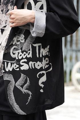 Yohji Yamamoto Discharge Print Jacket and T shirt Style